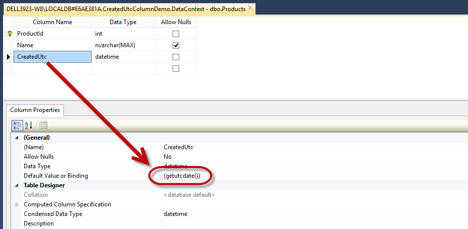 EF6: Adding a Created Date/Time Column Automatically with
